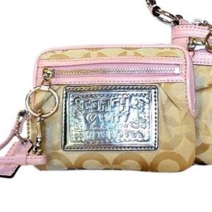 COACH Poppy Signature Khaki Canvas Wristlet.